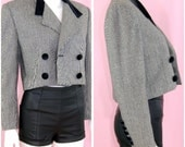 Vintage 90s Tweed Blazer Grey Cropped 80s Jacket Size Medium