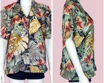 Vintage Hawaiian Shirt 90s Tropical Print Blouse Short Sleeve Large-XL