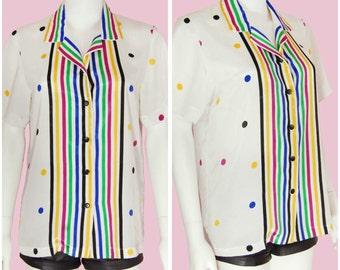 Vintage Polka Dot Satin Blouse Colorful Striped Top Size Large