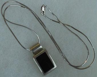 Vintage Mexico ATI black onyx pendant necklace sterling silver
