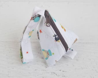 Baby Pacifier Bag | Pacifier Pod | Pacifier Pouch | Small Strap Bag | Key Pouch | Earphone Case | Triangle Bag | Animal Baby Shower Gift