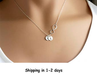 Personalized Infinity necklace, Mommy Mothers necklace Grandma Gift, Initial Silver Infinity necklace with initial discs Mothers Grandma