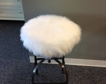Faux Fur Luxury Shag round barstool cover kitchen counter stool seat cover vanity stool & View Bar Stool Covers Round by BrittaLeighDesigns on Etsy islam-shia.org