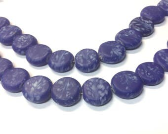 Sapphire Blue Glass Lentil Beads, Blue Coin Beads, Glass Coin Beads, Glass Beads, Lentil Beads, Floral Beads, Nature Beads, Blue White Beads