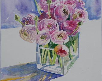 Original Watercolor art painting 9,3 x 12,6 in Botanical illustration floral watercolor flowers home decor Ranunculus Sunshine Sunlight