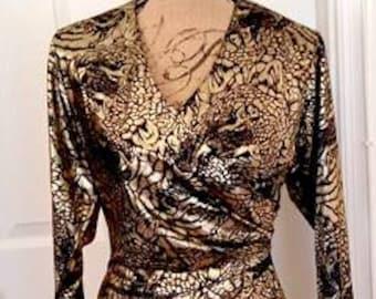 Vintage 80s Susan Roselli Vijack Size Small Gold Foil Metallic Dress Made in USA