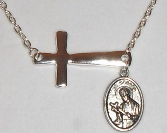 Silver St Gerard medal and Cross necklace