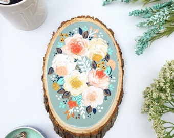 Floral Wood Slice / Gift for Her / Florals / Wood Decor / Floral Painting / Gift Ideas