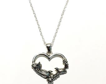 Sterling Silver Vintage Heart Bird Necklace