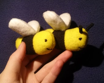 Jingle Bee - Catnip & Wool Bumble Bee Handsewn Toy with Bell