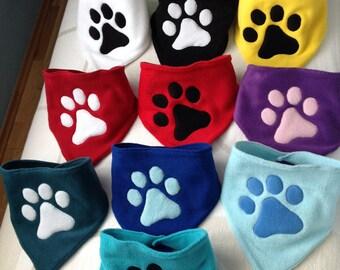 Paw Print Fleece Bandanas Multiple Colours