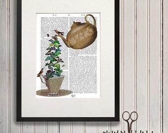 Kitchen Art - Teapot print & Butterflies Teapot illustration teacup print teacup wall art gift for mom gift idea grandmother gift teapot art