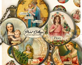 Catholic Religion Christmas Cabochon images Digital Collage Sheet 1.5 inch, 18 mm, 14 mm, 1 inch digital download Bottle Cap image c220