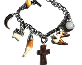 Wolf Fang Bracelet with Genuine Porcupine Claw, Wood Cross & Soldered Crystal Charms / Real Animal Tooth and Claw Bracelet / Gothic Bracelet