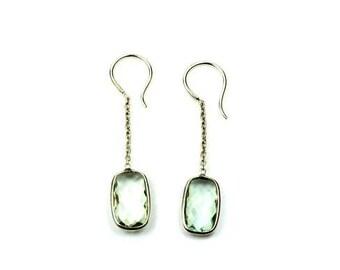 Green Amethyst Earrings, Natural Gemstone Earrings, Antique Silver Earrings, Unique Earrings, Jewelry Gift