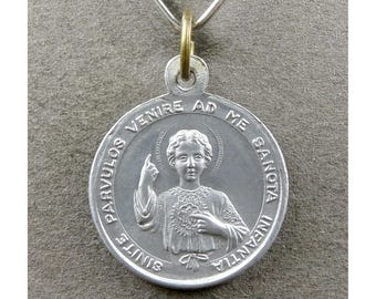French, Antique Religious Pendant. Jesus, Christ Child, Saint Therese of Lisieux. Medal.