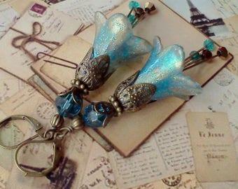 Fairy Earrings, Flower Earrings, Victorian Earrings, Sky Blue Earrings,  Blue n Gold Earrings, Boho Earrings, Handmade Dangles, Vintage