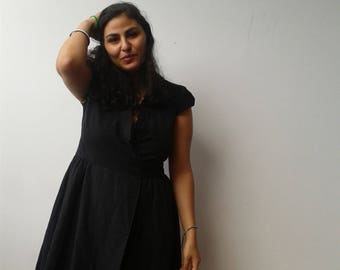 Black Calvin Klein Wrap Dress Cotton Tieback Medium Button-up Puffed Cap Sleeves Deep Neckline Patterned