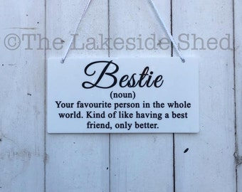 Glossy Acrylic Hanging  plaque/sign Bestie definition Best Friend gift
