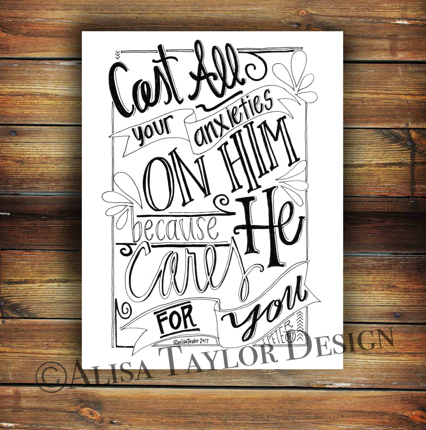 printable coloring page of 1 peter 5 7 printable bible verse
