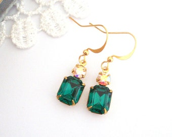 Emerald Dangle Earrings, Crystal Birthstone Earrings, Old Hollywood Earrings, Vintage Jewel Earrings, Gift for Her