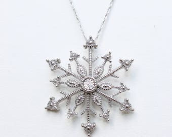 Vintage Sterling Silver Genuine Diamond Snowflake Pendant Necklace