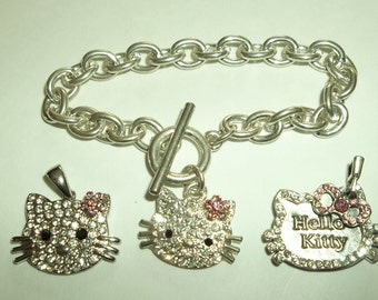 Hello Kitty   3 Pc  Rhinestone charm Bracelet Pendant charm