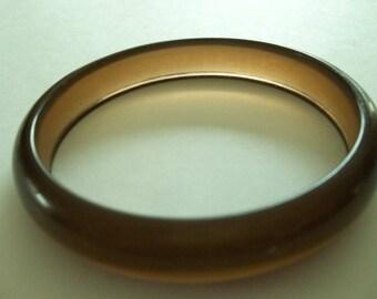 Vintage 70's translucent brown bangle bracelet Lucite