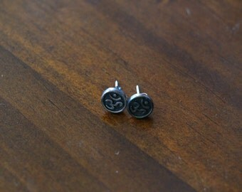 Mini Om Symbol Sterling Silver Stud Earrings
