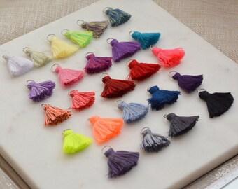 Mini Tassels,Cotton Tassels, Tassles, 10mm Jump Ring,Chunky,Short Boho Tassels,Cotton,Tassles,One Inch,Jewelry Tassels,Fringe,Trim,Pack of 6