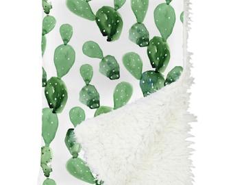 Arid Desert Cactus Baby Blanket | Watercolor, Cactus, Southwestern, Gender Neutral, Boy Crib Blanket | Cactus Nursery