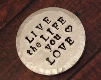 """POCKET TOKEN - Thick Aluminum 1 1/4"""" Wide - With Custom Writing: Perfect for Recovery Motivational Strength Encouragement-One Day At A Time!"""