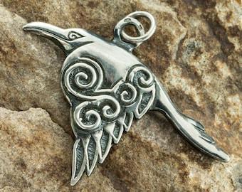 Celtic Raven SILVER Pendant Corvus Bird Pagan Jewel Spiral Crow Menhir Symbol Irish Newgrange