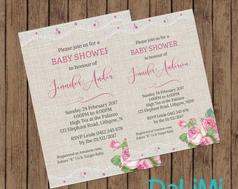 Baby Shower Invitation - Floral Shower Invitation - Burlap and Lace Invitation - Printable Invitation - Personalised - Digital File!
