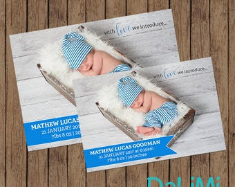 Birth Announcement Card for Newborn Baby Boy - Custom Birth Announcement Card - Baby Announcement Card - Personalised - Thank you Card
