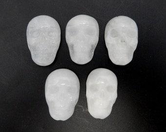 Skull Shaped White Quartzite Cabochon - (RK78B17-07)