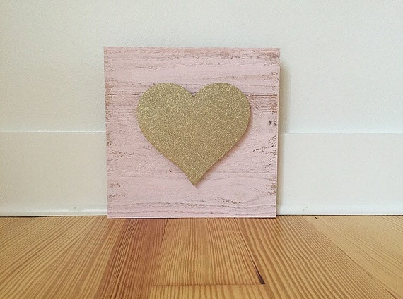 Wooden Heart - Pink and Gold Glitter Heart Sign - Valentines Sign Decor