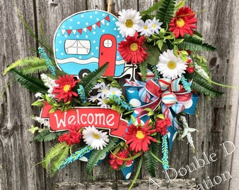 Shasta Camper Wreath, Welcome Shasta Camper, Shasta Floral Grapevine, Camping Wreath, Retirement, Summer Wreath, Summer Decor, Camping