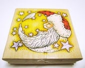 Santa Moon Stamp Christmas Rubber Stamp Cardmaking Stamp Scrapbooking Stamp Santa Rubber Stamp CHRISTMAS STAMPS