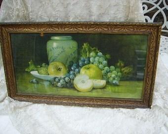 Antique Fruit Print in Original Antique Frame/Shabby Cottage Fruit Print