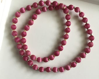 Fuchsia silk wrapped beaded necklace Vintage