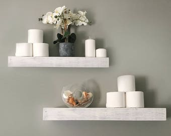 Whitewashed Floating Shelves Reclaimed Wood Custom Size Distressed Rustic Wood bathroom shelves