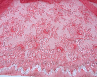 Lace fabric sell by yard Wedding lace, lingerie red lace, red chantilly lace fabric, Wedding Gownslace, red Bridal Veils, Mantilla