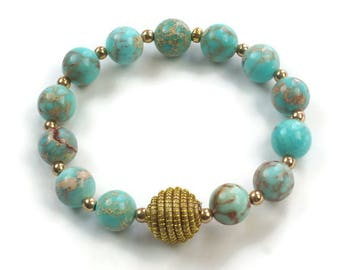 Turquoise Beaded Bracelet, Sea Blue Magnesite bracelet, Golden Grass stretching bracelet, Stacking Beaded Bracelet, Gemstone Bracelet
