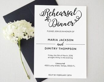 Rehearsal Dinner invitation template, rehearsal printable, modern, invitation templates, wedding rehearsal, pdf instant download
