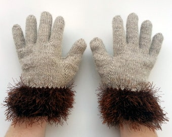 Fun Fur Gloves With Fingers  - Fur Gloves - Knit Fun Fur Gloves - Hand Knitted Gloves - Furry Gloves - Fingerless Gloves
