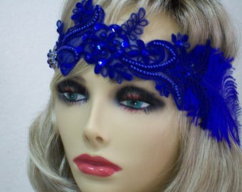 Royal Blue Gatsby headpiece, Flapper headpiece, 1920s headband, Roaring 20s, Beaded sequin headband, 1920s hair accessory, Vintage inspired