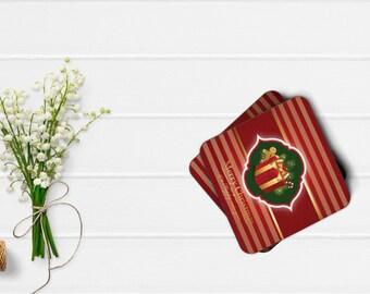 Personalized Coaster, Set Of 4 Christmas coasters, Gift, Wedding Gift, Housewarming gift, Custom coasters, Holiday Coaster, Drink coaster