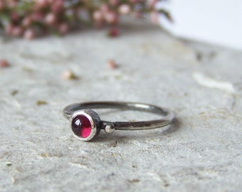 Red Garnet Ring, Gift For Her, Oxidized Sterling Silver 925 Ring, Minimalist Ring, Delicate Ring