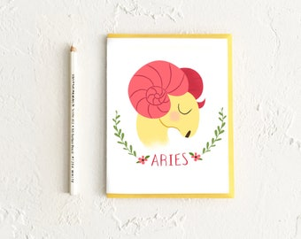 Aries Card, Astrology Card, Zodiac Card, Zodiac Birthday Card, Aries Birthday, Astrology Gift, Gift for Aries, Aries Art